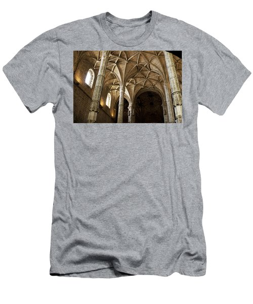 Men's T-Shirt (Slim Fit) featuring the photograph Lisbon Cathedral's Ancient Arches  by Lorraine Devon Wilke