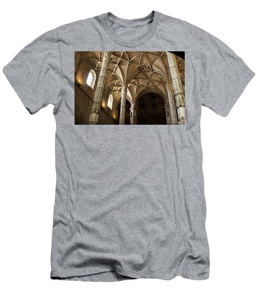 Lisbon Cathedral's Ancient Arches  Men's T-Shirt (Slim Fit) by Lorraine Devon Wilke