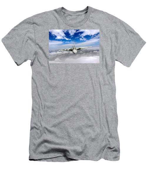 Men's T-Shirt (Slim Fit) featuring the digital art Avro Vulcan Head On Above Clouds by Gary Eason