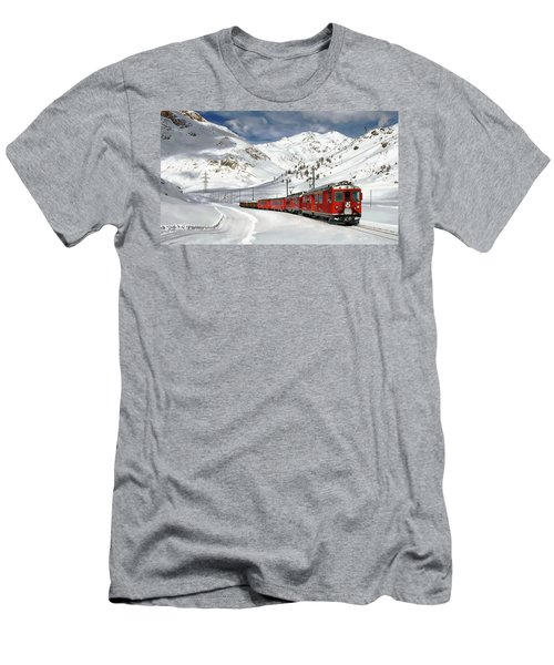Men's T-Shirt (Athletic Fit) featuring the photograph Bernina Winter Express by Anthony Dezenzio