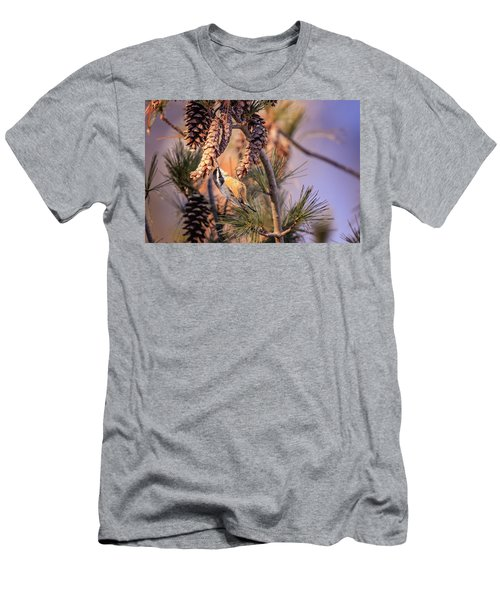 Men's T-Shirt (Athletic Fit) featuring the photograph Black-capped Chickadee by Peter Lakomy
