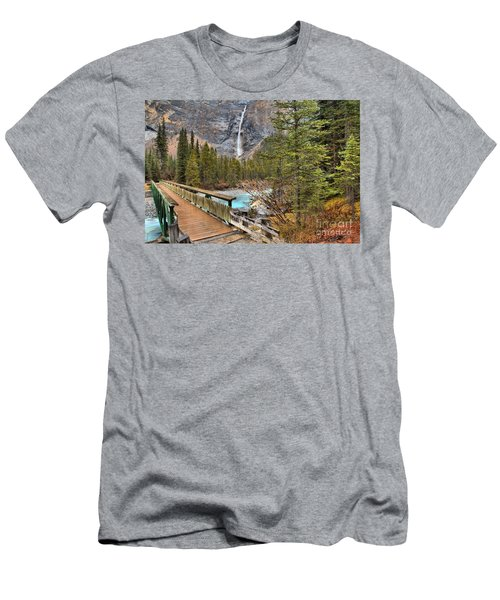 Men's T-Shirt (Slim Fit) featuring the photograph Wooden Bridge To Takakkaw Falls by Adam Jewell