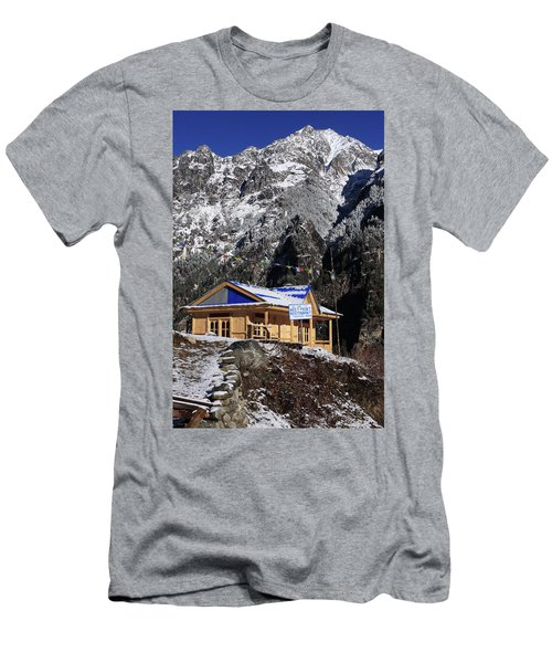 Men's T-Shirt (Slim Fit) featuring the photograph Meeting Point Mountain Restaurant by Aidan Moran