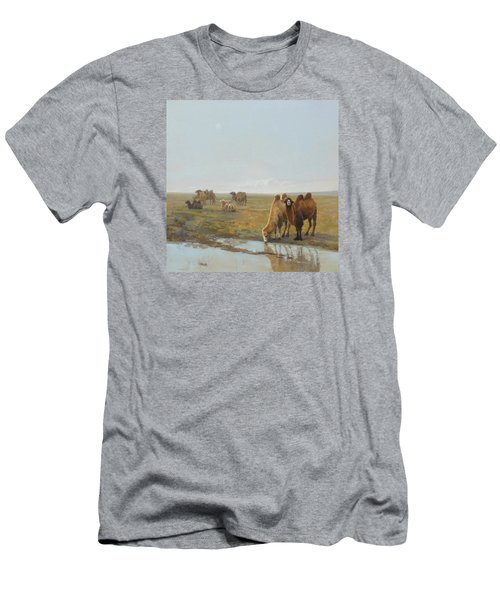 Camels Along The River Men's T-Shirt (Athletic Fit)