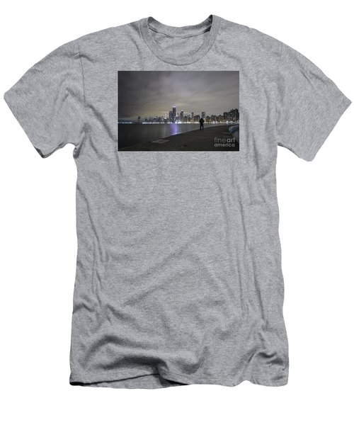 Chicago Skyline At Night Men's T-Shirt (Athletic Fit)