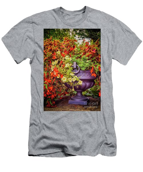 Men's T-Shirt (Athletic Fit) featuring the photograph Decorative Flower Vase In Garden by Ariadna De Raadt