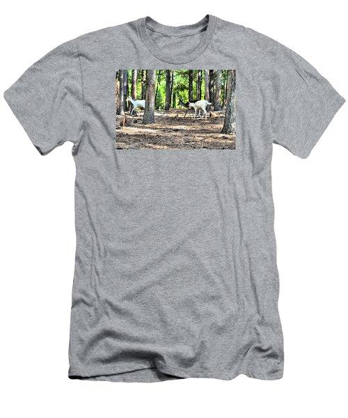 Deer In The Woods Men's T-Shirt (Slim Fit) by James Potts