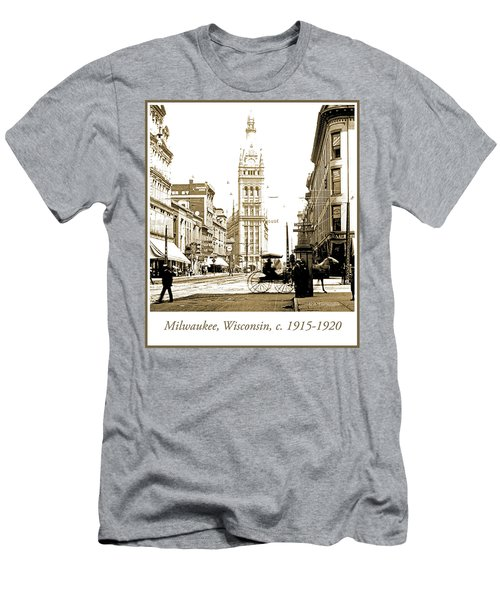 Downtown Milwaukee, C. 1915-1920, Vintage Photograph Men's T-Shirt (Athletic Fit)