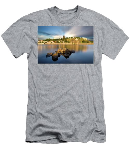 Famous Vysehrad Church During Sunny Day. Amazing Cloudy Sky In Motion. Vltava River, Prague, Czech Republic Men's T-Shirt (Athletic Fit)