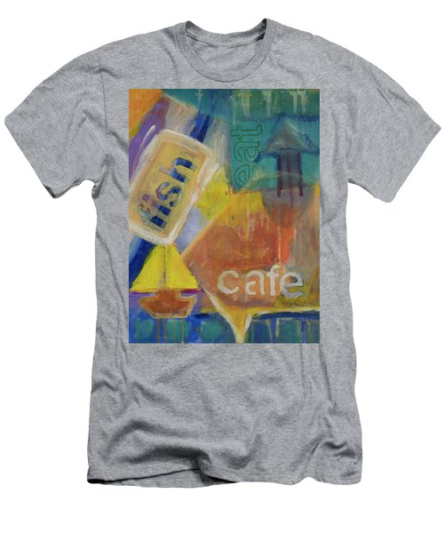 Men's T-Shirt (Slim Fit) featuring the painting Fish Cafe by Susan Stone