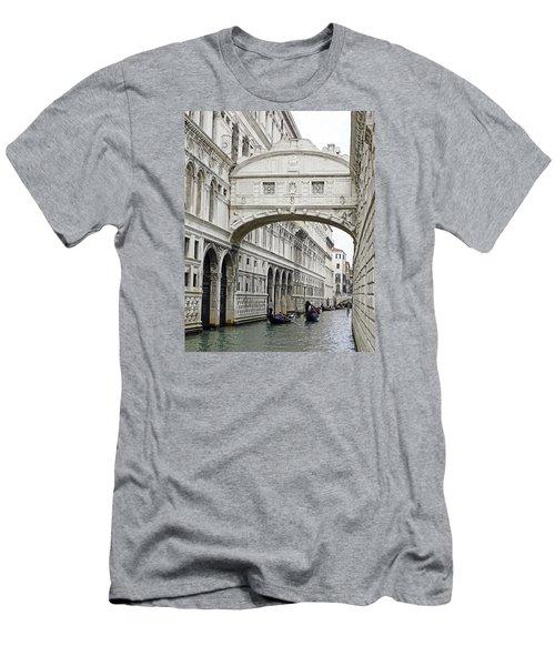 Gondolas Going Under The Bridge Of Sighs In Venice Italy Men's T-Shirt (Slim Fit) by Richard Rosenshein