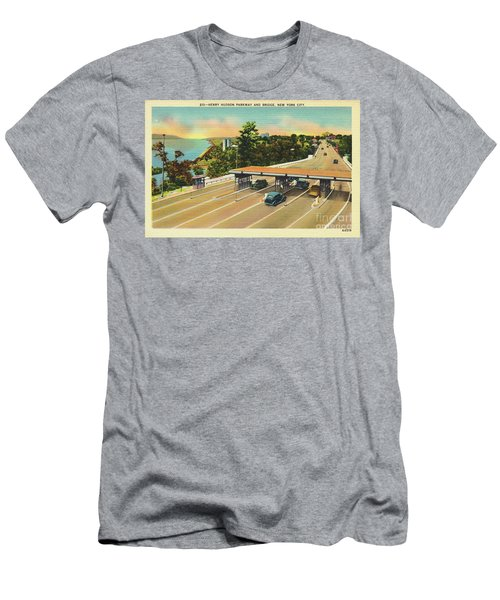 Henry Hudson Bridge Postcard  Men's T-Shirt (Slim Fit) by Cole Thompson