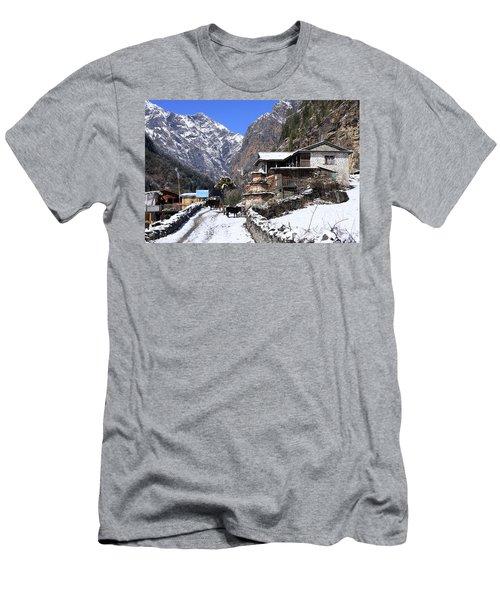 Himalayan Mountain Village Men's T-Shirt (Slim Fit) by Aidan Moran