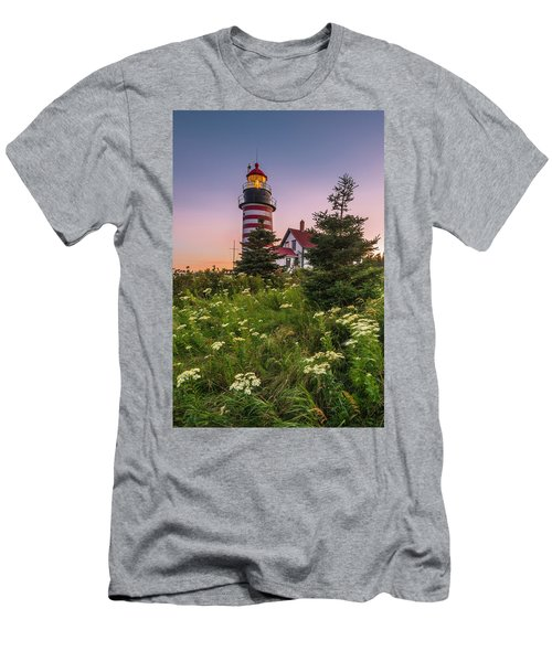 Maine West Quoddy Head Light At Sunset Men's T-Shirt (Slim Fit) by Ranjay Mitra