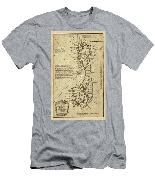 Map Of Bermuda 1750 Men's T-Shirt (Slim Fit) by Andrew Fare