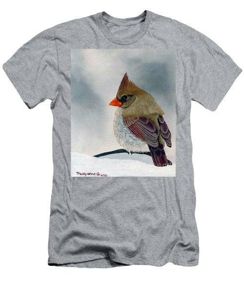Men's T-Shirt (Athletic Fit) featuring the painting Mrs. Cardinal by Tracey Goodwin
