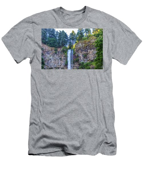 Men's T-Shirt (Athletic Fit) featuring the photograph Multnomah Falls Cliff by Jonny D
