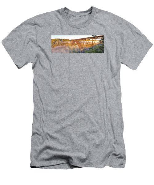 New River Gorge Bridge Morning Fall Panorama Men's T-Shirt (Athletic Fit)