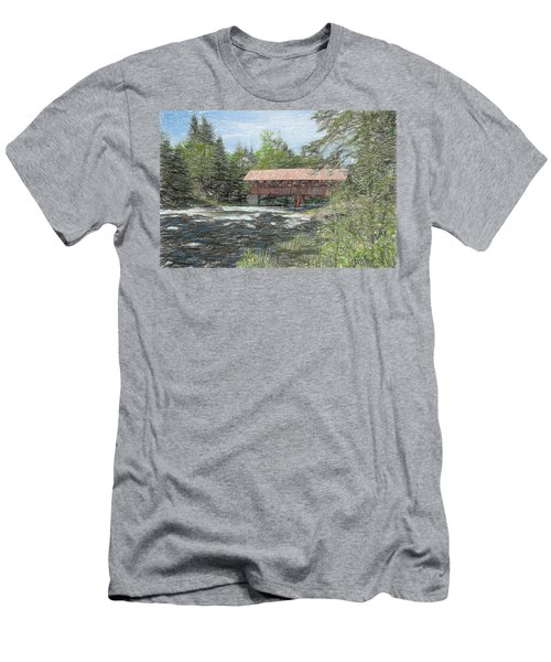 Men's T-Shirt (Slim Fit) featuring the digital art North Country Bridge by John Selmer Sr