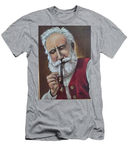 Old German With Pipe Men's T-Shirt (Athletic Fit)