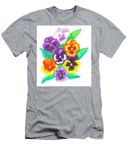 Pansies, Watercolour Painting Men's T-Shirt (Slim Fit) by Irina Afonskaya