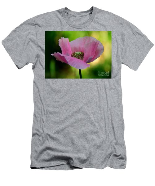 Men's T-Shirt (Slim Fit) featuring the photograph Pink Poppy by Lisa L Silva