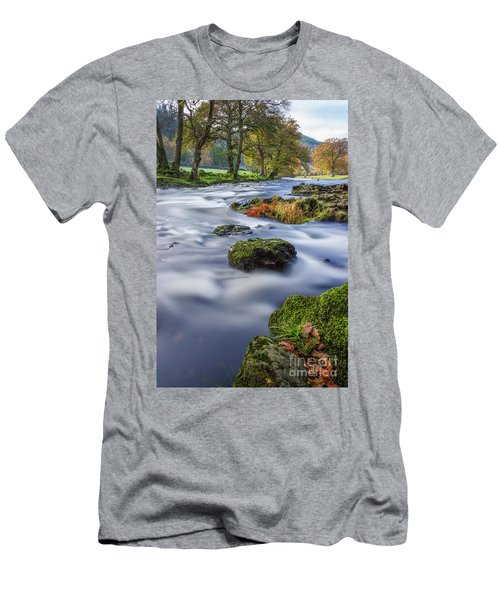 River Llugwy Men's T-Shirt (Slim Fit) by Ian Mitchell