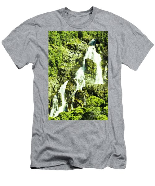 Rocky Mountain Waterfall Men's T-Shirt (Athletic Fit)