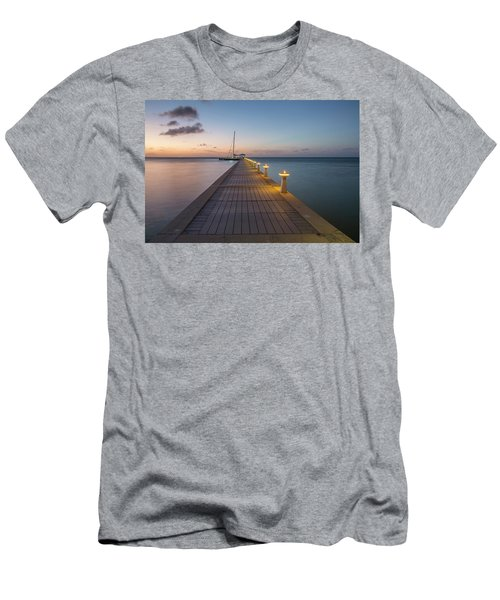 Men's T-Shirt (Athletic Fit) featuring the photograph Rum Point Pier At Sunset by Adam Romanowicz