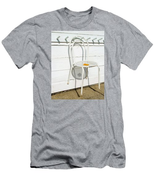 Men's T-Shirt (Slim Fit) featuring the photograph Shadows Of Suspended White Chair And Autumn Leaf by Gary Slawsky