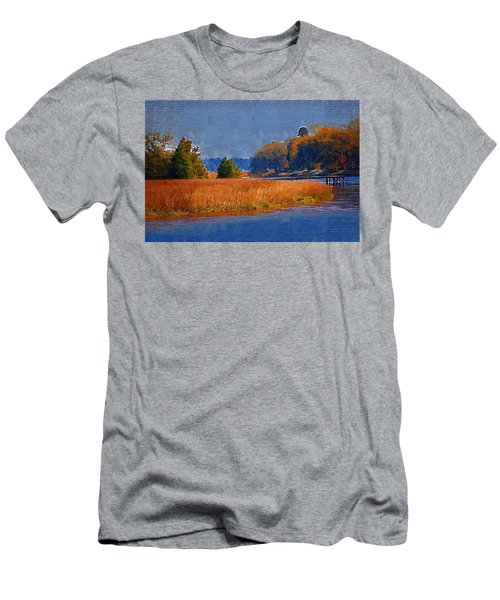 Men's T-Shirt (Athletic Fit) featuring the photograph Sitting On The Dock by Donna Bentley
