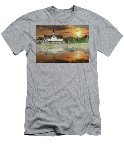 Men's T-Shirt (Slim Fit) featuring the mixed media Star Barn Sunrise by Lori Deiter