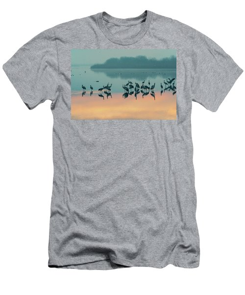 Sunrise Over The Hula Valley Men's T-Shirt (Slim Fit) by Dubi Roman