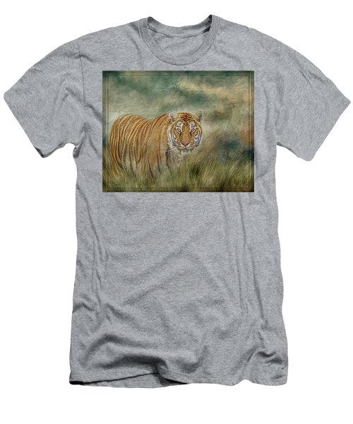 Tiger In The Grass Men's T-Shirt (Athletic Fit)