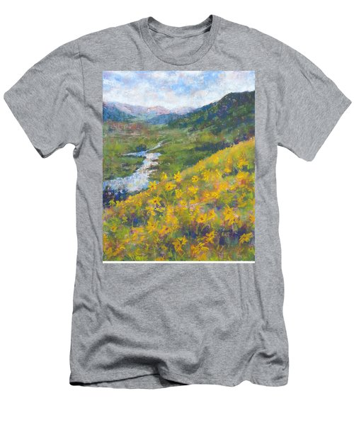 View From Baxters Gulch Men's T-Shirt (Slim Fit) by Becky Chappell