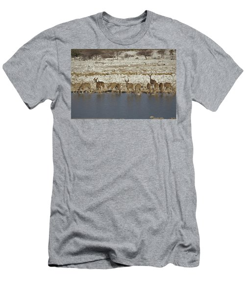 Men's T-Shirt (Slim Fit) featuring the digital art Waterhole Kudu by Ernie Echols