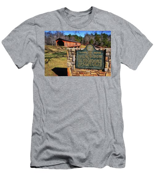 Watson Mill Covered Bridge 010 Men's T-Shirt (Slim Fit) by George Bostian