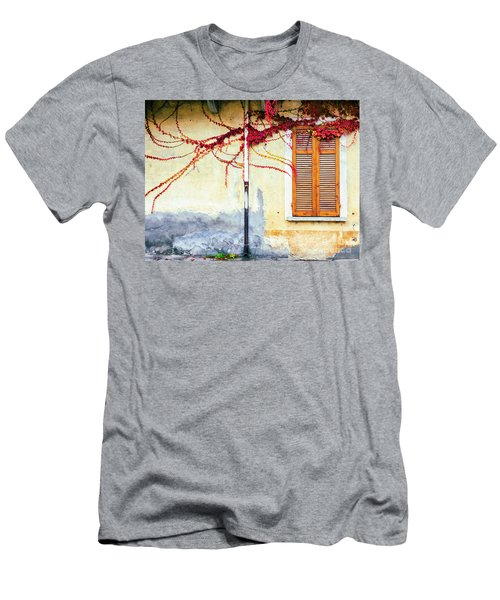 Men's T-Shirt (Athletic Fit) featuring the photograph Window And Red Vine by Silvia Ganora