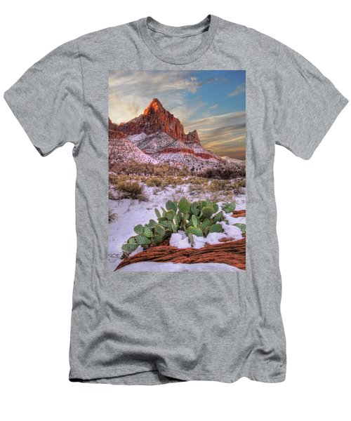 Winter In Zion National Park Utah Men's T-Shirt (Athletic Fit)