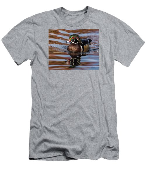 Wood Duck Reflections Men's T-Shirt (Slim Fit) by Stephen Johnson