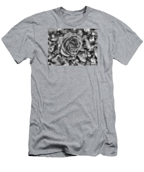 Men's T-Shirt (Slim Fit) featuring the pyrography Yury Bashkin Black Rose by Yury Bashkin