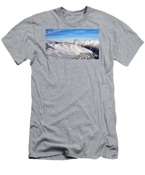 Men's T-Shirt (Slim Fit) featuring the pyrography Yury Bashkin Mountains by Yury Bashkin