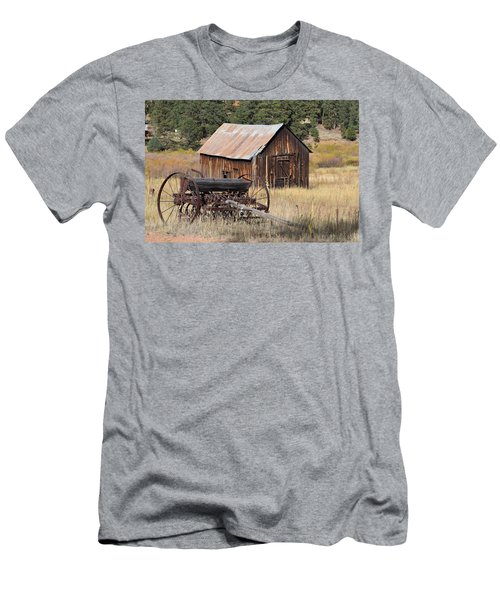 Men's T-Shirt (Athletic Fit) featuring the photograph Seed Tiller - Barn Westcliffe Co by Margarethe Binkley