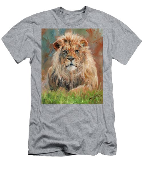 Men's T-Shirt (Slim Fit) featuring the painting Lion by David Stribbling