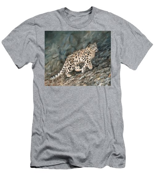 Men's T-Shirt (Slim Fit) featuring the painting Snow Leopard by David Stribbling