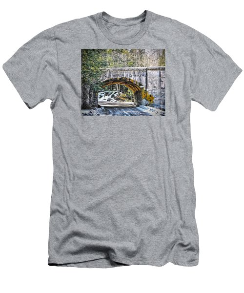 1909 Country Backroad Train Overpass Men's T-Shirt (Slim Fit) by Rena Trepanier