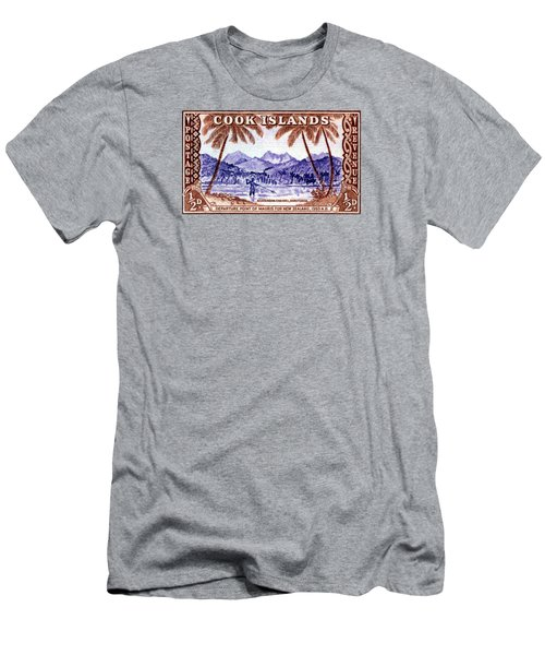 Men's T-Shirt (Slim Fit) featuring the painting 1949 Native Fishing, Cook Islands by Historic Image