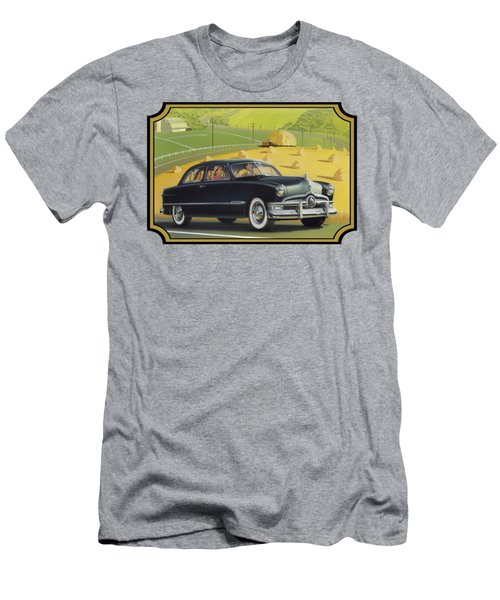 1950 Custom Ford Rustic Rural Country Farm Scene Americana Antique Car Watercolor Painting Men's T-Shirt (Athletic Fit)