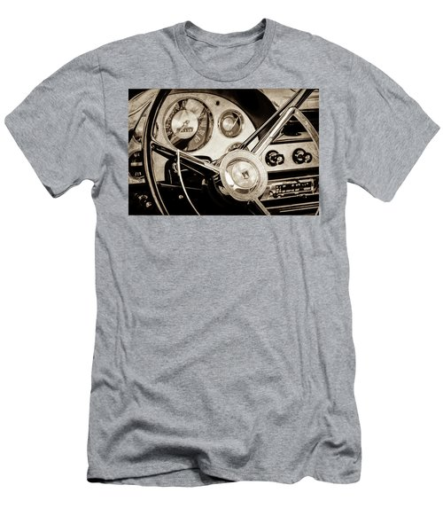Men's T-Shirt (Slim Fit) featuring the photograph 1956 Ford Victoria Steering Wheel -0461s by Jill Reger