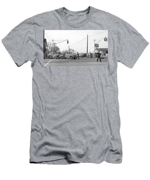 1957 Car Accident Men's T-Shirt (Slim Fit) by Paul Seymour